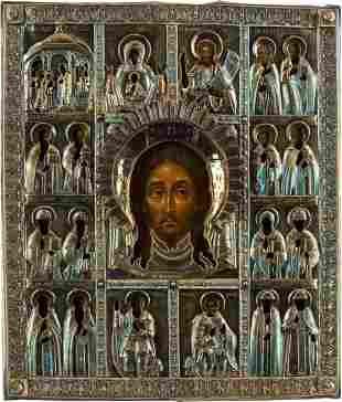 A FINE ICON SHOWING THE MANDYLION AND SELECTED SAINTS