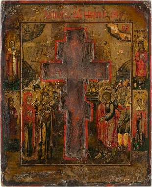A STAUROTHEK ICON SHOWING THE CRUCIFIXION OF CHRIST