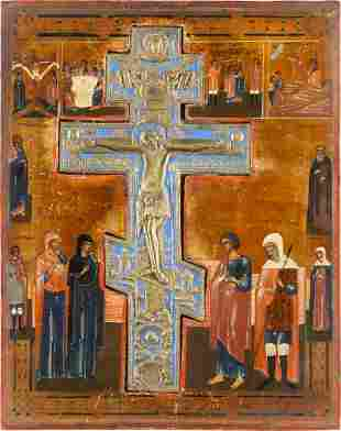 A LARGE STAUROTHEK ICON SHOWING THE CRUCIFIXION OF GOD