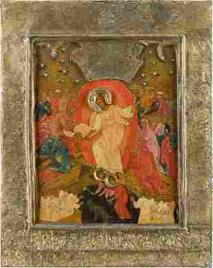 A LARGE ICON SHOWING THE DESCENT INTO HELL WITH BASMA