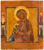 A RARE ICON SHOWING THE NURSING MOTHER OF GOD Central