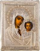 A PAIR OF WEDDING ICONS WITH SILVER OKLAD Russian