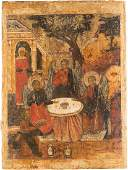 A LARGE ICON OF THE OLD TESTAMENT TRINITY Russian,