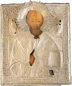 A LARGE ICON OF ST NICHOLAS OF MYRA WITH OKLAD