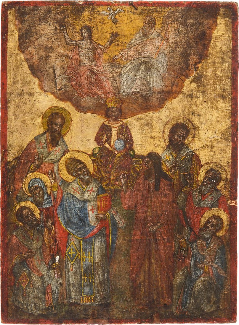 A RARE ICON SHOWING ST. SPYRIDON DURING THE FIRST
