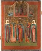 A LARGE ICON SHOWING A SELECTION OF SAINTS Russian