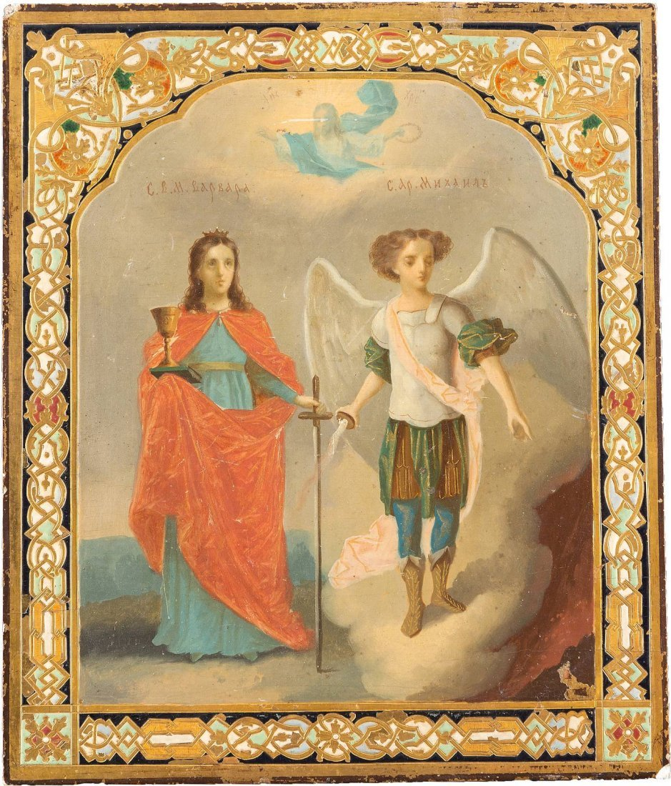 A RARE ICON SHOWING ST. BARBARA AND THE ARCHANGEL