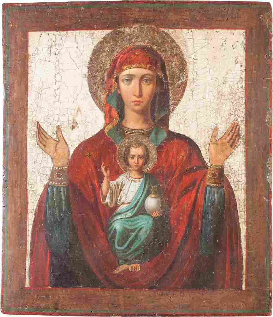 A LARGE ICON SHOWING THE MOTHER OF GOD OF THE SIGN