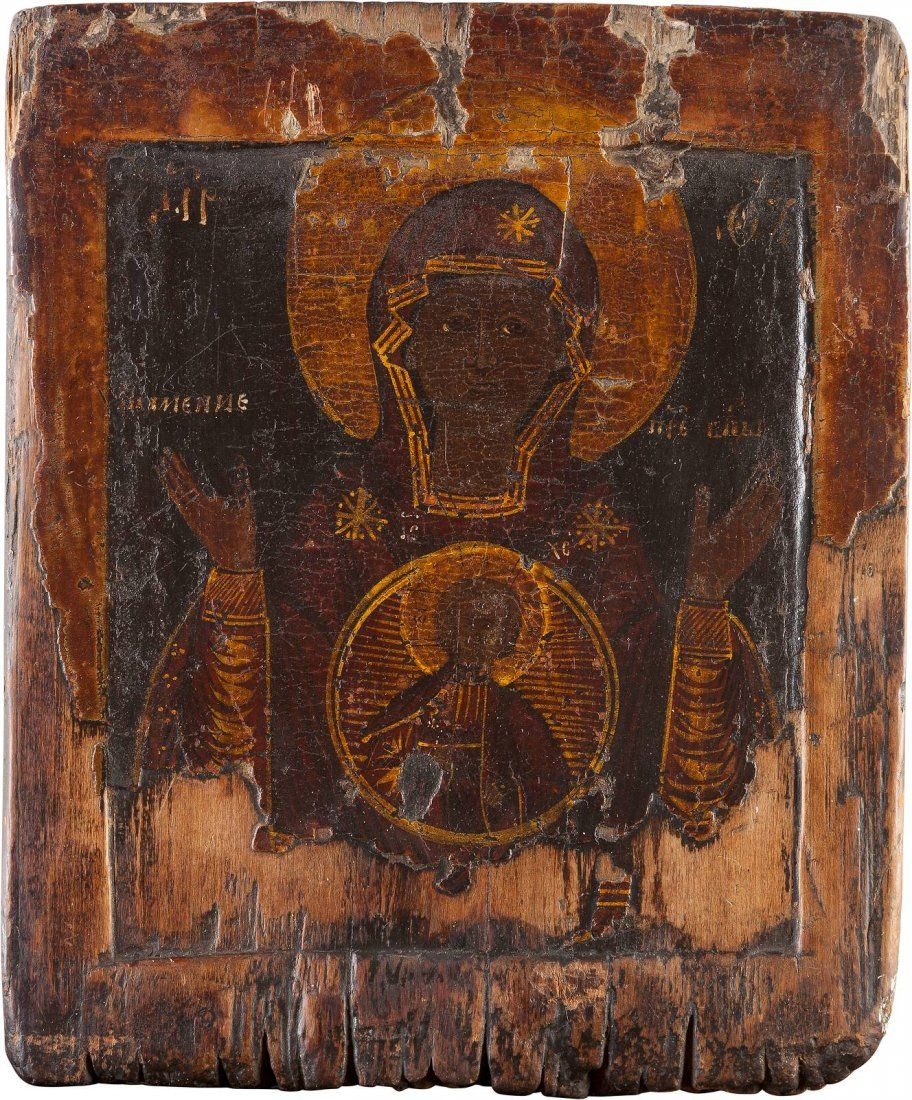 AN ICON SHOWING THE MOTHER OF GOD OF THE SIGN Russian,
