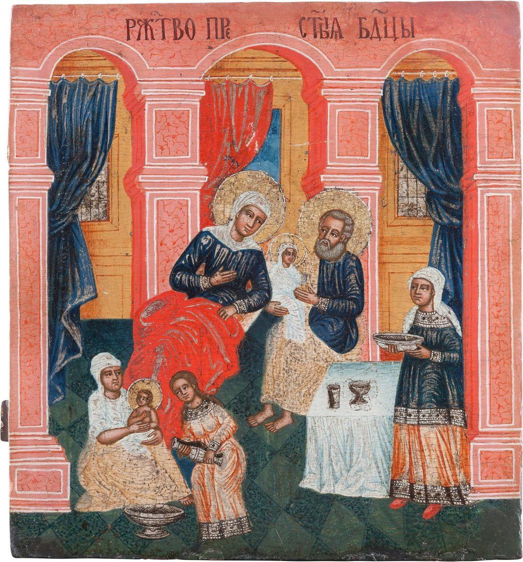 A LARGE ICON SHOWING THE NATIVITY OF THE MOTHER OF GOD
