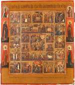 A FINE ICON OF THE RESURRECTION PASSION AND FEASTS