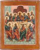 A LARGE ICON SHOWING THE LAST SUPPER Russian late 18th