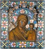 A SMALL ICON SHOWING THE KAZANSKAYA MOTHER OF GOD WITH