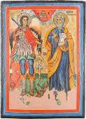 A LARGE ICON SHOWING THE ARCHANGEL MICHAEL AND THE