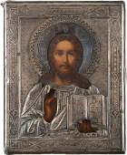TWO ICONS WITH SILVER OKLAD CHRIST PANTOKRATOR AND ST