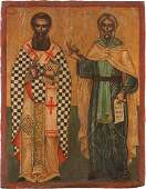 TWO ICONS SHOWING TWO SELECTED SAINTS AND THE DEISIS