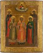 A LARGE ICON SHOWING FIVE SELECTED SAINTS Russian