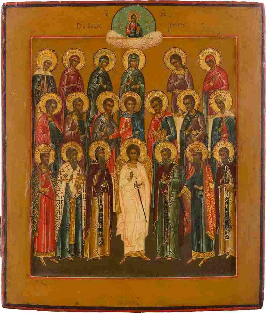 AN ICON SHOWING A SELECTION OF SAINTS Russian, 19th