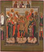 A RARE ICON SHOWING A SELECTION OF SAINTS Russian,