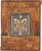 A BRASS ICON SHOWING ST. NICHOLAS OF MYRA INSET INTO A