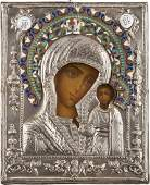 AN ICON OF THE KAZANSKAYA MOTHER OF GOD WITH ENAMELED
