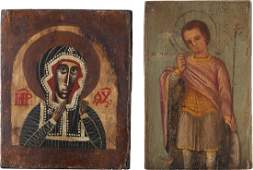 TWO ICONS SHOWING THE MOTHER OF GOD AND ST GEORGE
