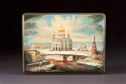 A LARGE LACQUER BOX Russian Fedoskino 2002 The hinged