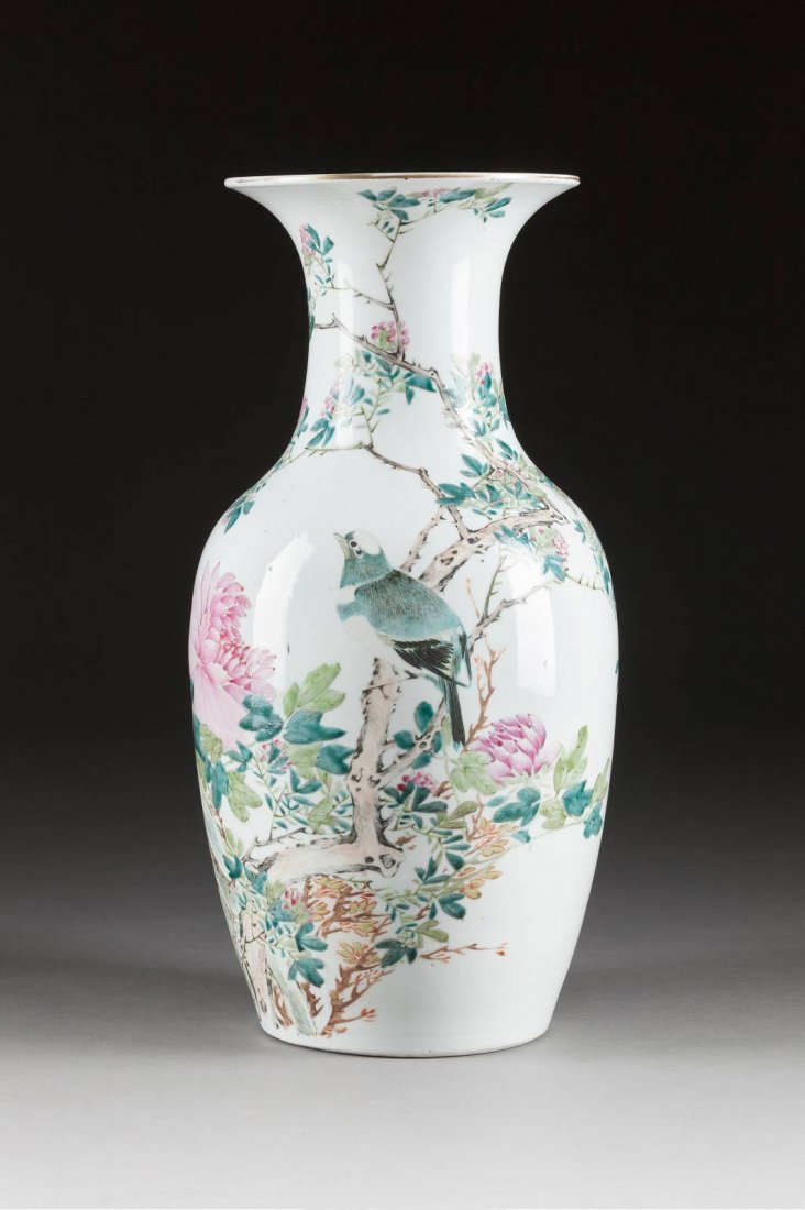 GROSSE BODENVASE MIT VOGEL-DEKOR China, Guangxu-Periode