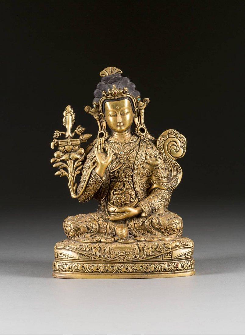 BUDDHA Sino-tibetisch, um 1900 Bronze, vergoldet,