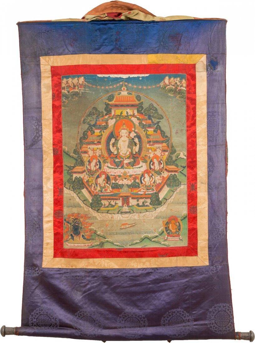 THANGKA Tibet, 19. Jh. Baumwollgewebe, Tempera,