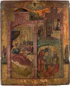A LARGE AND FINE ICON SHOWING THE NATIVITY OF THE