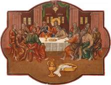 A RARE ICON SHOWING THE LAST SUPPER Russian late 18th