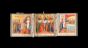 A SMALL TRIPTYCH SHOWING SCENES FROM THE LIFE OF JESUS