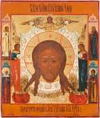 A FINE ICON SHOWING THE MANDYLION Russian circa 1800