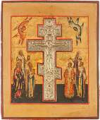 A STAUROTHEK ICON INSET WITH A GILDED BRASS CRUCIFIX