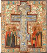 AN ICON INSET WITH A BRASS AND ENAMEL CRUCIFIX AND FOUR