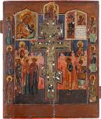 A LARGE ICON SHOWING THE CRUCIFIXION AND TWO IMAGES OF