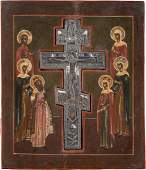 A STAUROTHEC ICON Russian, 19th century Tempera on wood