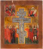 A LARGE ICON SHOWING THE CRUCIFIXION OF CHRIST THE