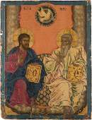 A LARGE ICON SHOWING THE NEW TESTAMENT TRINITY Greek,