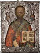 A LARGE AND VERY FINE ICON SHOWING ST. NICHOLAS OF MYRA
