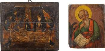 TWO ICONS Russian 19th century Tempera and oil on wood