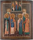 TWO ICONS Russian 19th century Tempera on wood panels