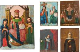 FIVE ICONS RussianUkrainian 19th century Oil on wood