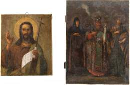 TWO ICONS Russian 19th century Oil on wood panels