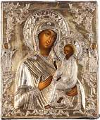 A FINE ICON SHOWING THE TIKHVINSKAYA MOTHER OF GOD WITH