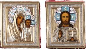 A PAIR OF SMALL WEDDING ICONS WITH ENAMELLED OKLADS