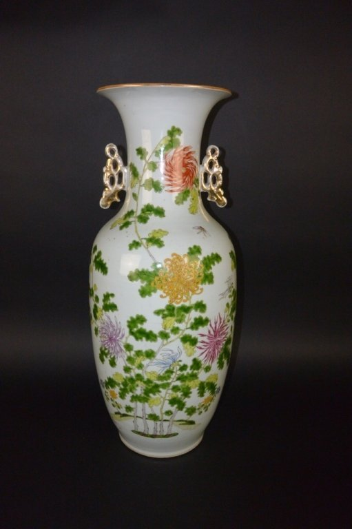 Chinese Late Qing Period-porcelain floral Vase
