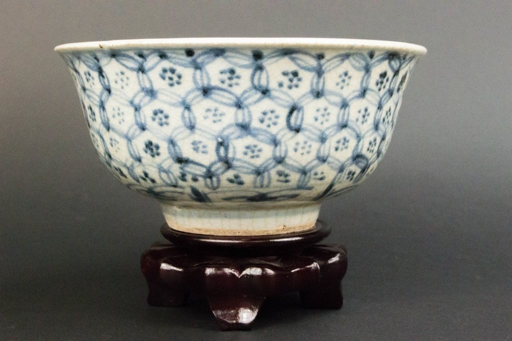 Chinese Qing Period Blue & White floral Bowl