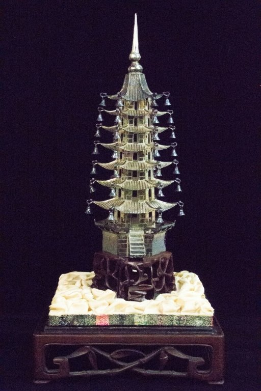 "Chinese Silver Tower w/ ""Huang Hua Li"" stand"